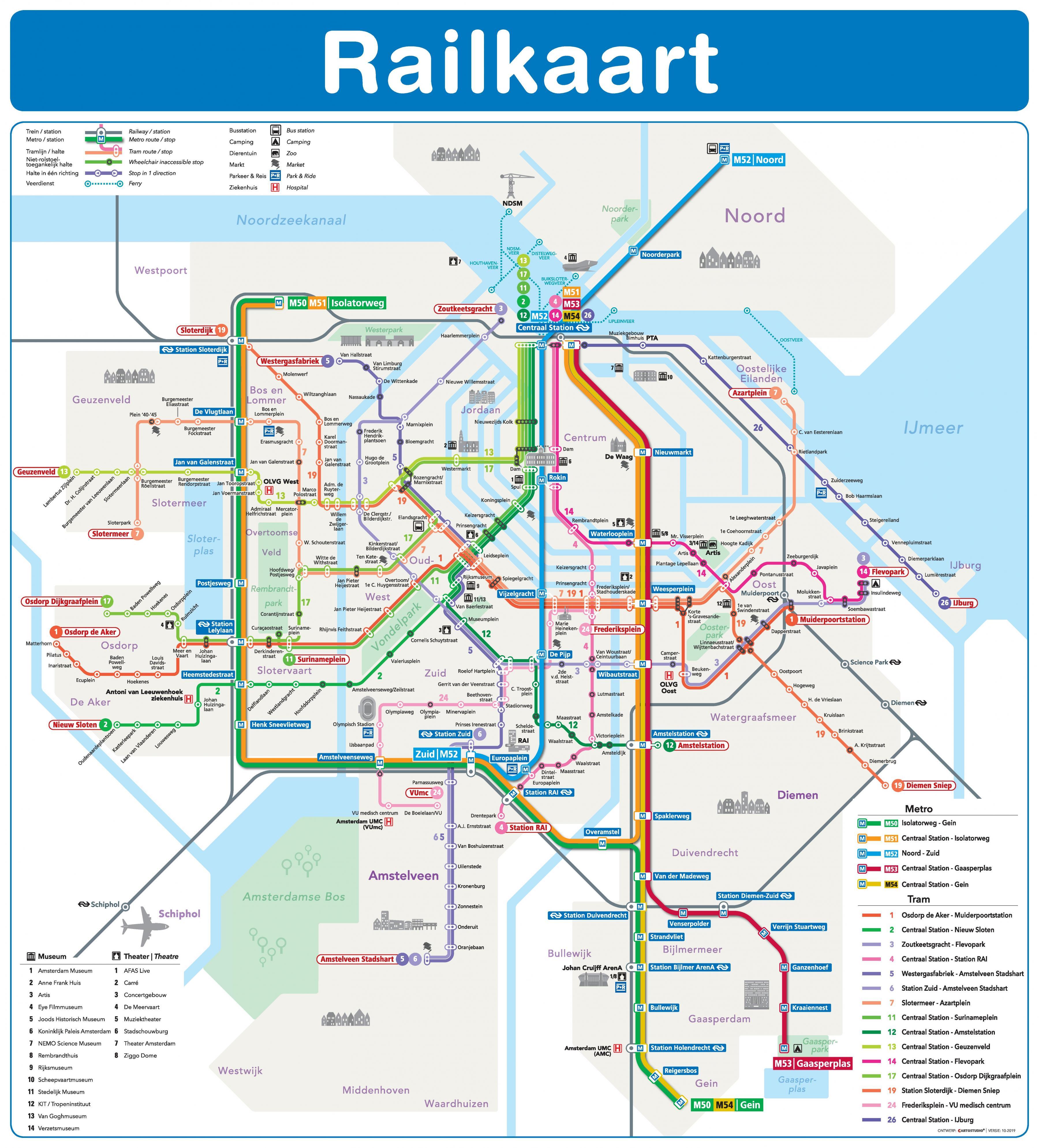 Amsterdam metro und tram map - Amsterdam tram und U-Bahn-Karte ...