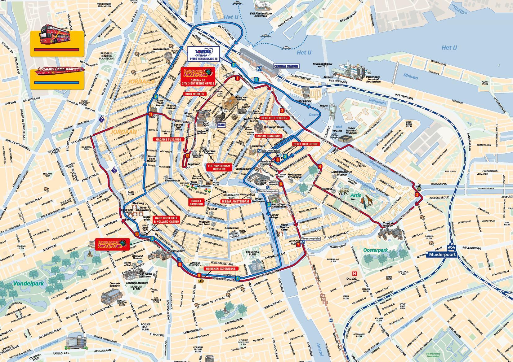 Amsterdam Sites Anzeigen Amsterdam Sehenswurdigkeiten Karte