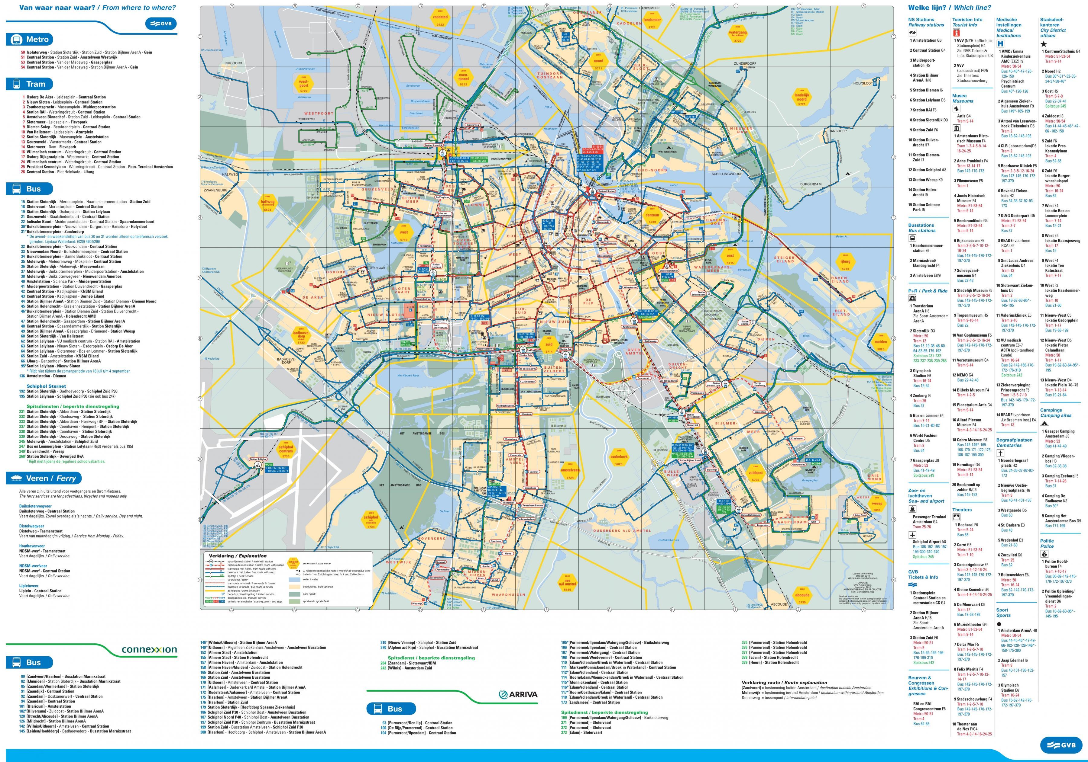 Von Amsterdam bus-Straßenbahn-map - Amsterdam bus-und ...