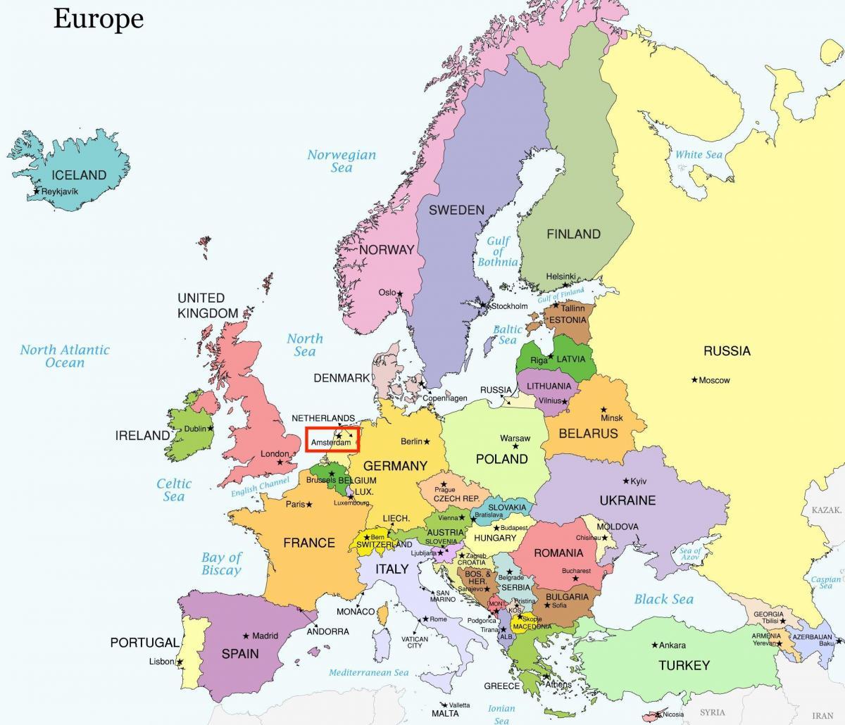 Amsterdam map europe - Amsterdam auf der Karte von Europa ...