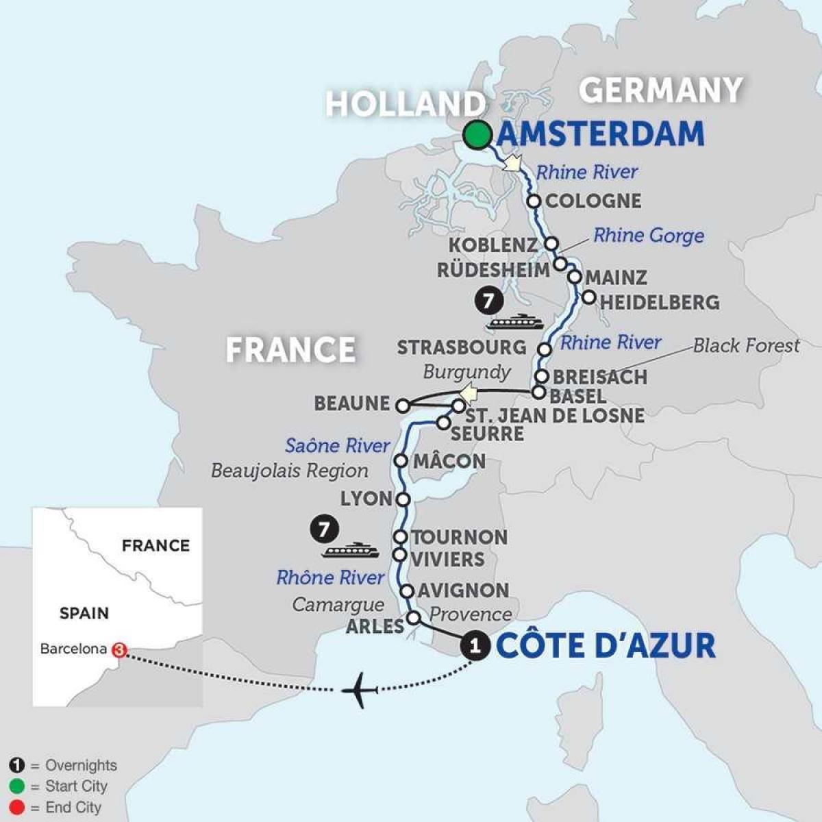 Karte Anzeigen.Amsterdam Rhine Canal Map Karte Von Amsterdam Rhein Kanal
